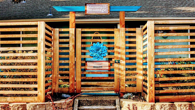 The stunning entrance to Blue Marigold Massage + Wellness.