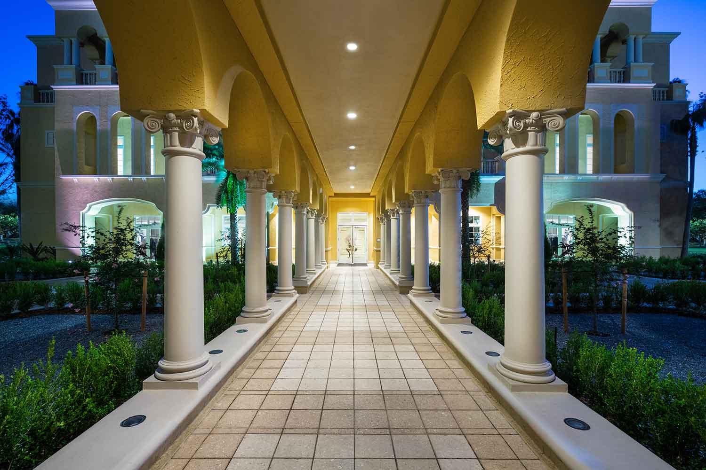 Spa walkway at The Ritz-Carlton Orlando, Grande Lakes.