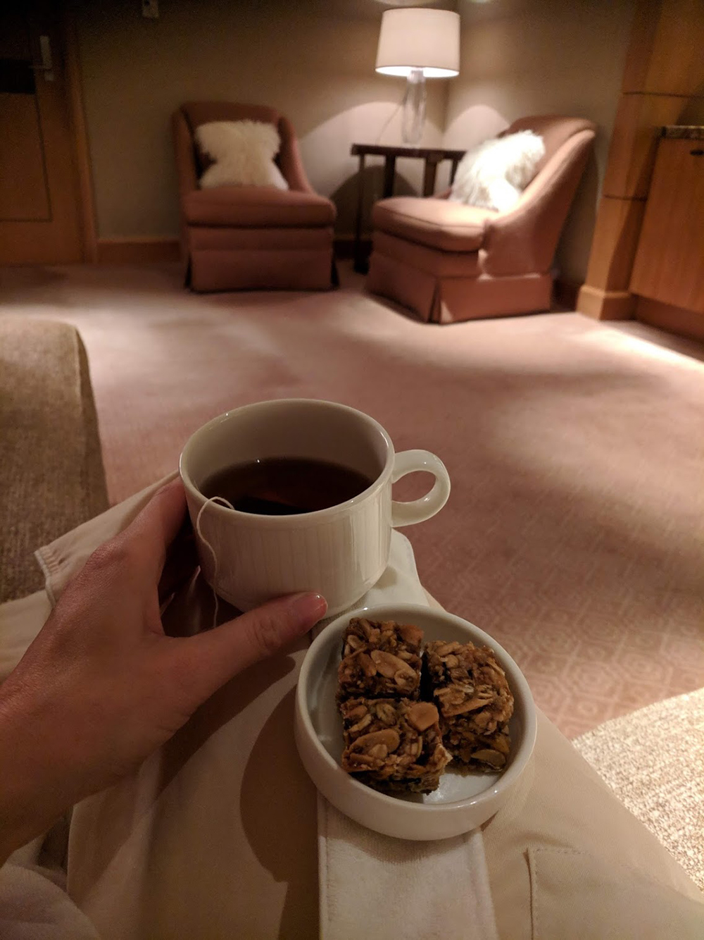 Sipping on Smith chai tea and snacking on house-made granola in the women's relaxation area.