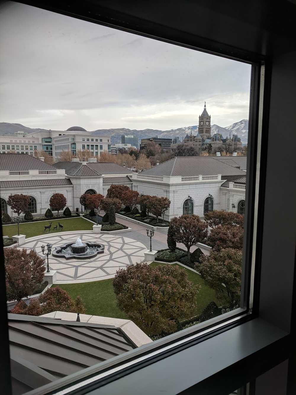 Beautiful views of the hotel's courtyard and the Utah mountains.
