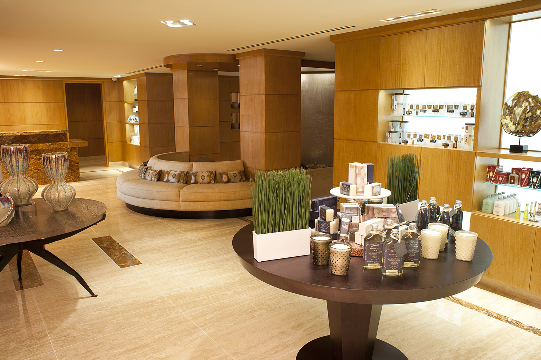 The spa's bright and open reception area.