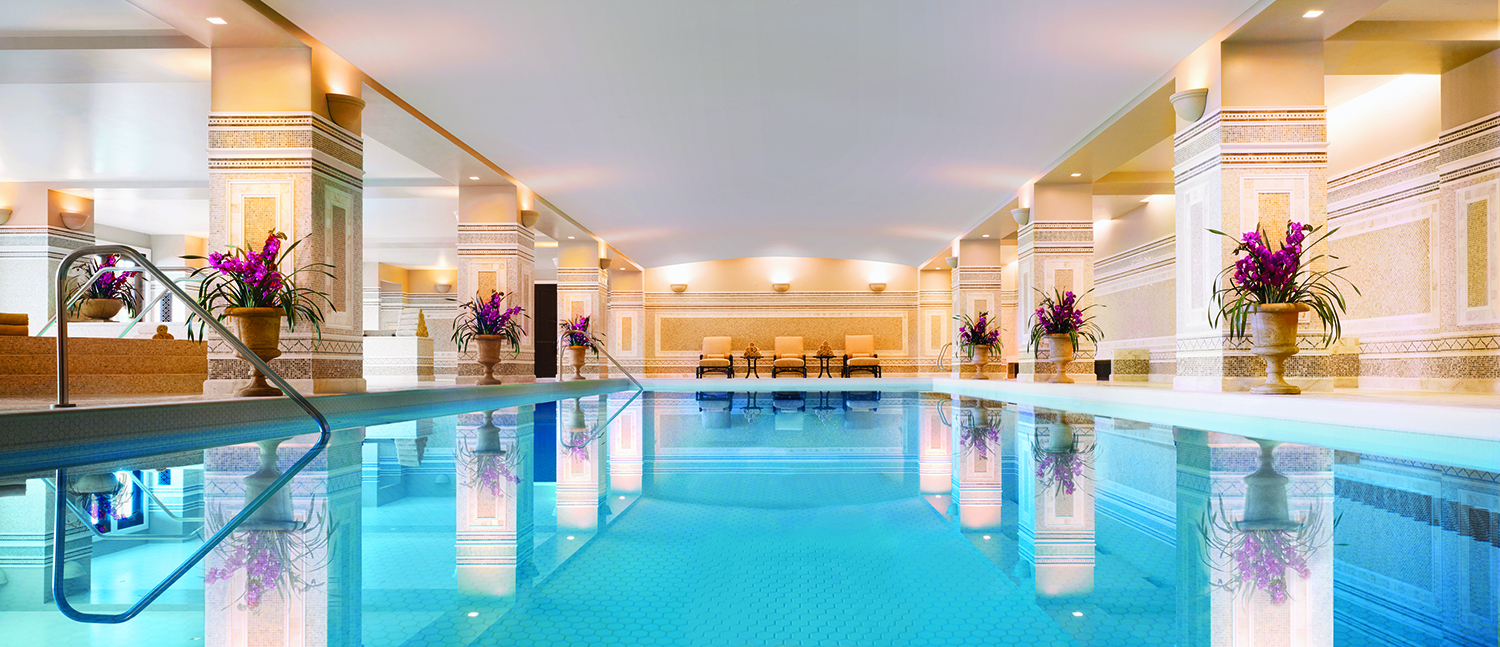 The Spa's sparkling indoor mosaic pool.