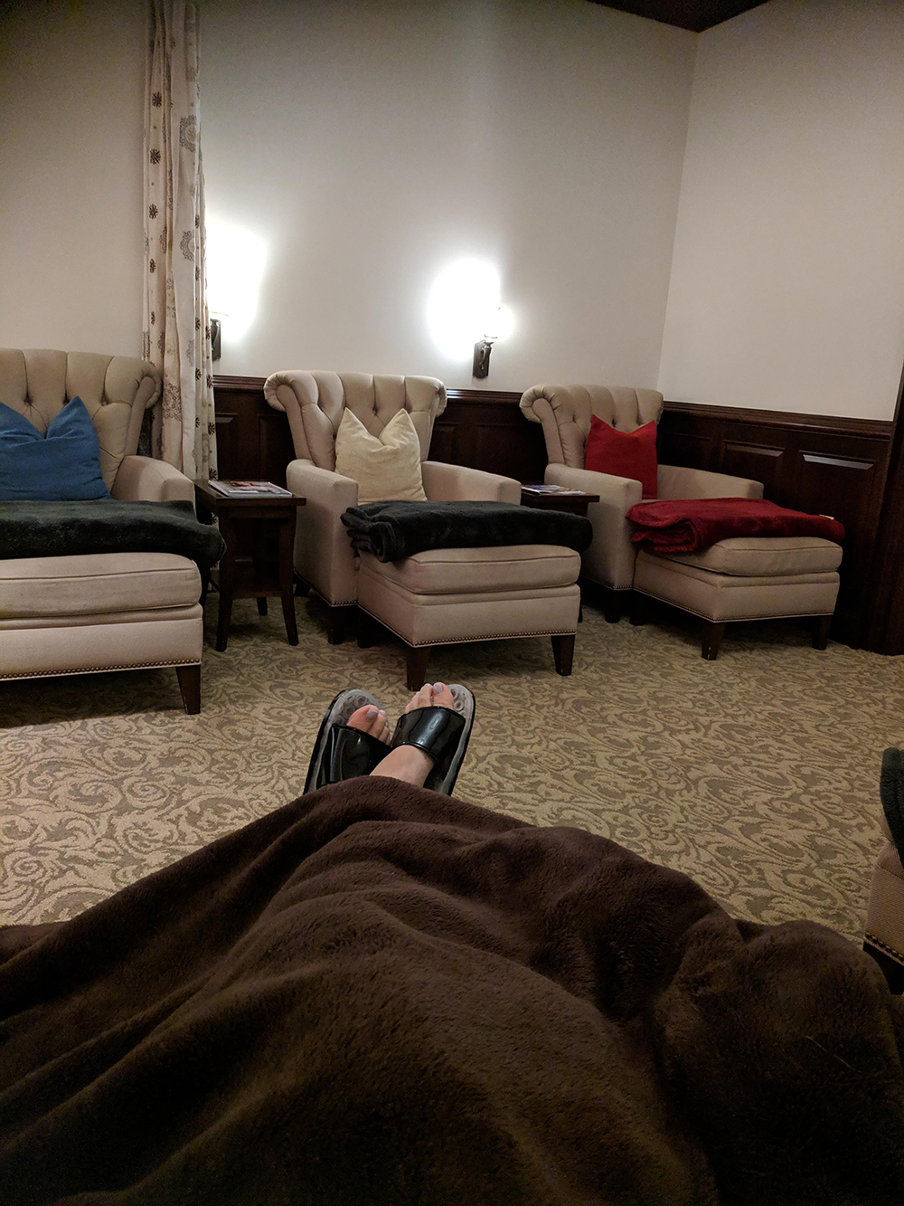 I could stay here all day! Kicking my feet up in the relaxation lounge pre-treatment.