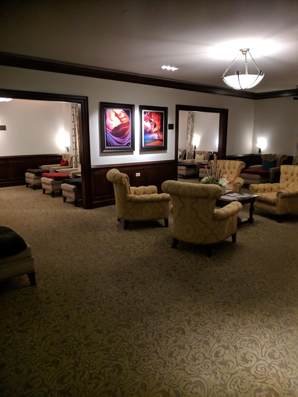 Another view of the relaxation lounge. Not pictured: a crackling fire.