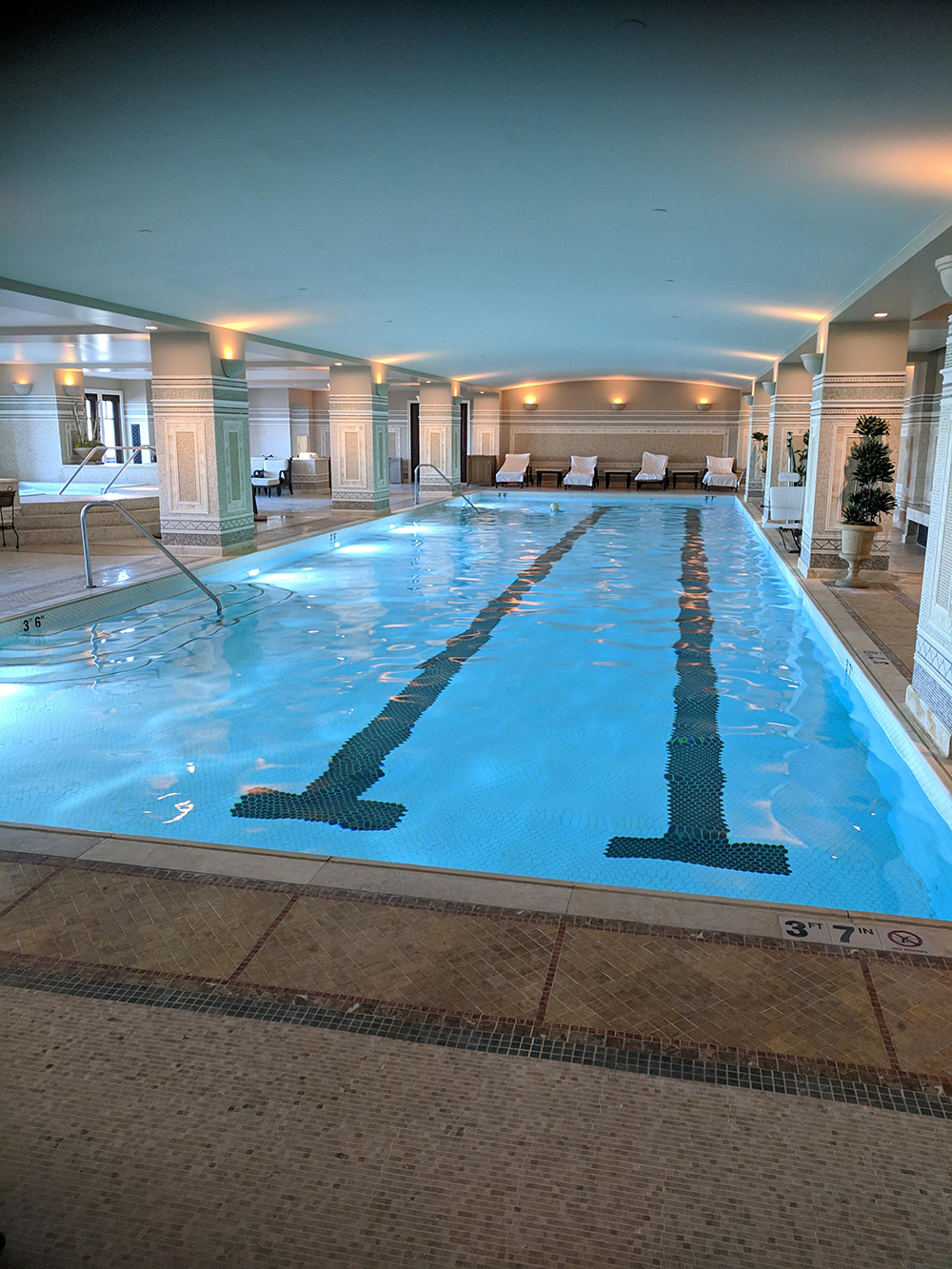 The co-ed indoor lap pool is designed with high-end mosaic.