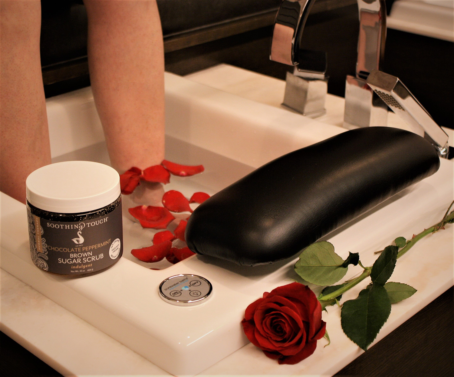 Pedicure with rose-infused waters and chocolate peppermint brown sugar scrub at The Spa at Lincolnshire.