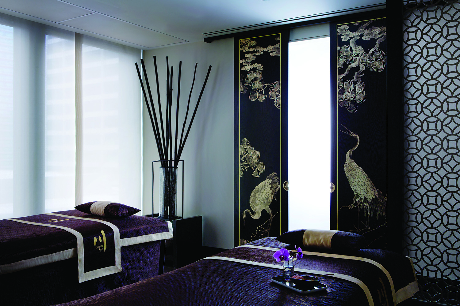 A couples treatment room at the Spa.