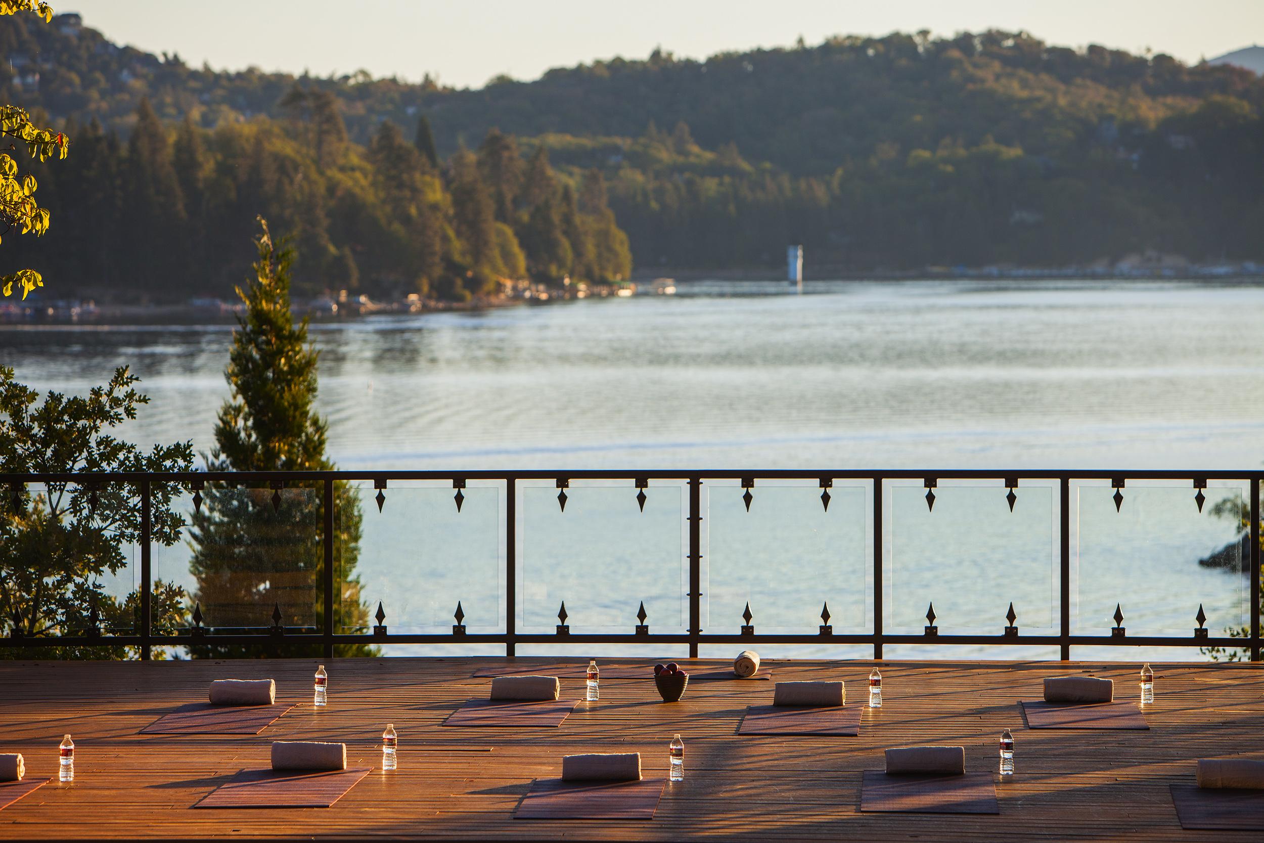 Morning lakeside yoga at Lake Arrowhead Resort and Spa.