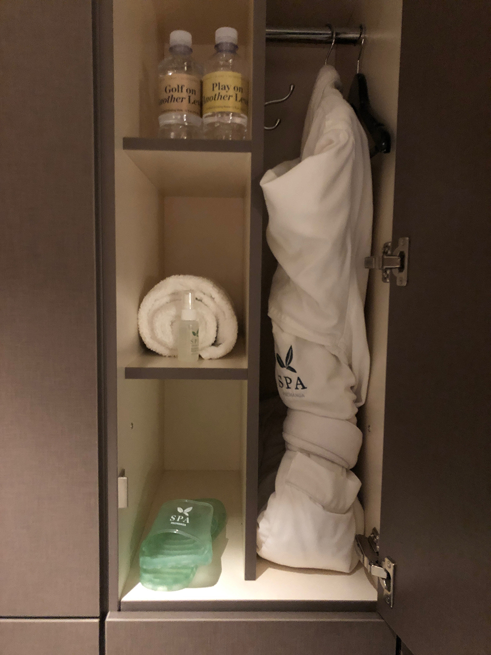 The generously stocked lockers in the Spa.