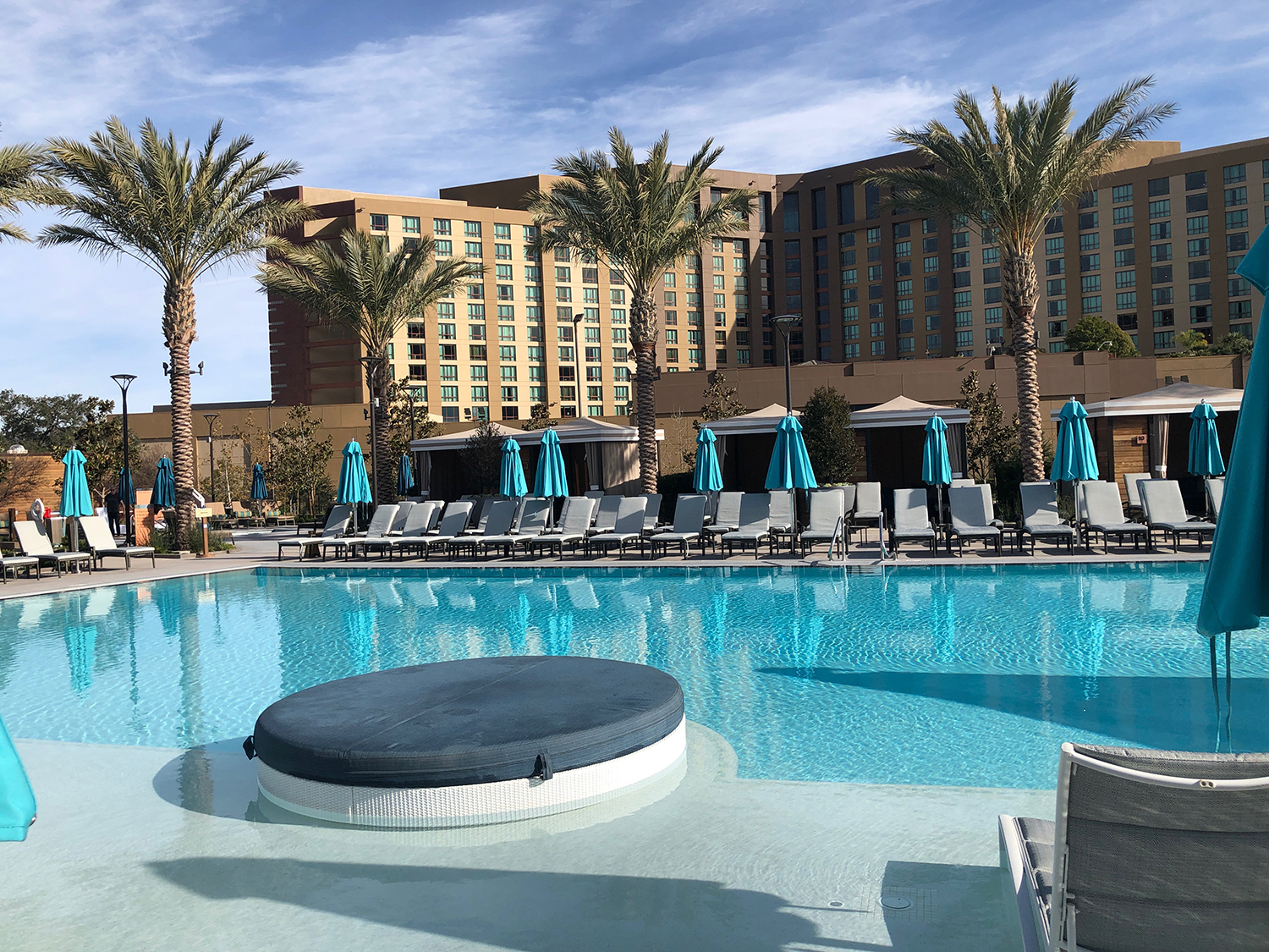 The zero-edge Main Pool with a swim-up bar at The Cove.