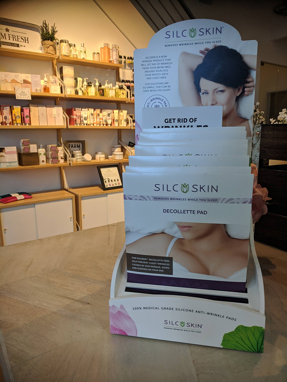 Silc Skin is available in the retail lobby along with many other brands including FarmHouse Fresh, DoTerra, Image Skin Care, M'lis, and more.