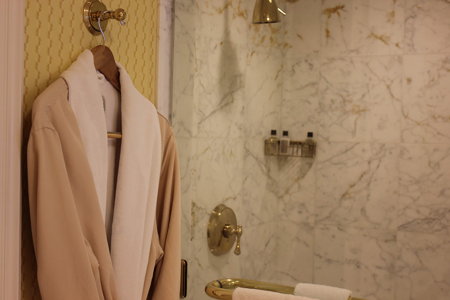 Luxury robes and marble showers are a welcome invitation to the weekend.