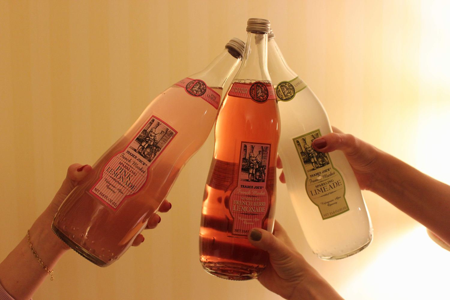 Cheers! Sparkling drinks in fruity flavors from  Trader Joe's .