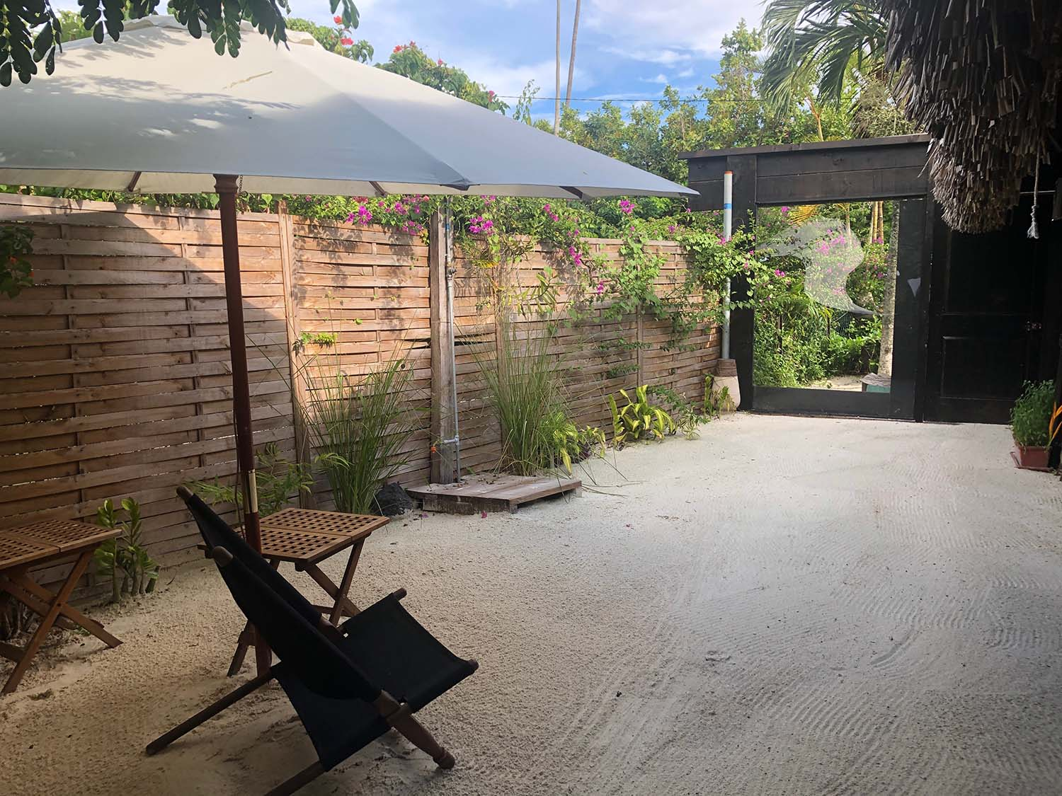 There is also an outside patio area where guests can relax before or after treatments.