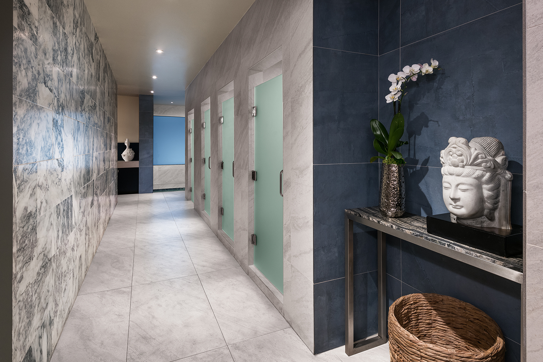 The women's showers and locker room.