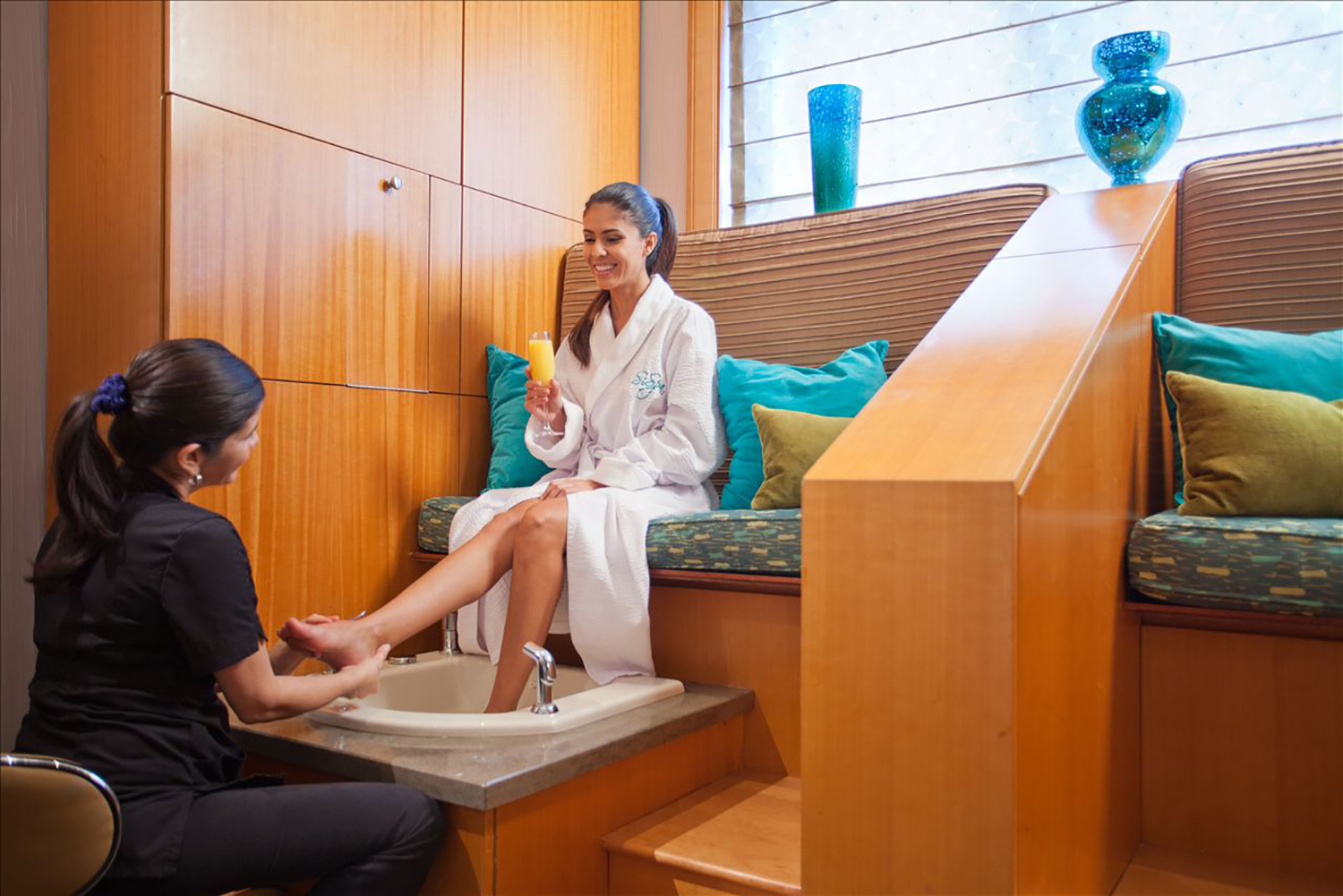 The spa also has separate manicure and pedicure areas.