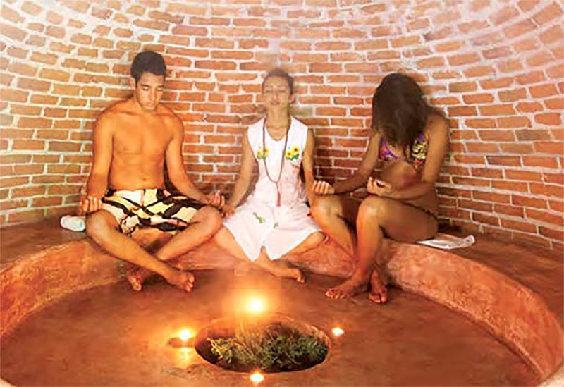 The Temezcal Stone Steam Bath features a purifying steam bath with herbs.