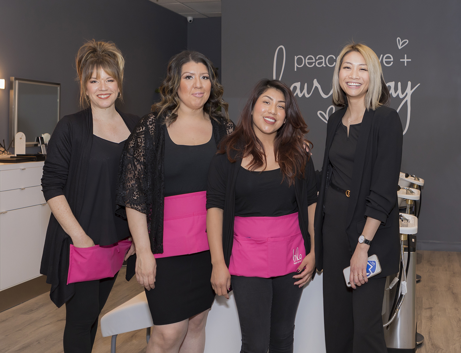 Blo Arcadia owner Helen Lin (far right) with members of her team.