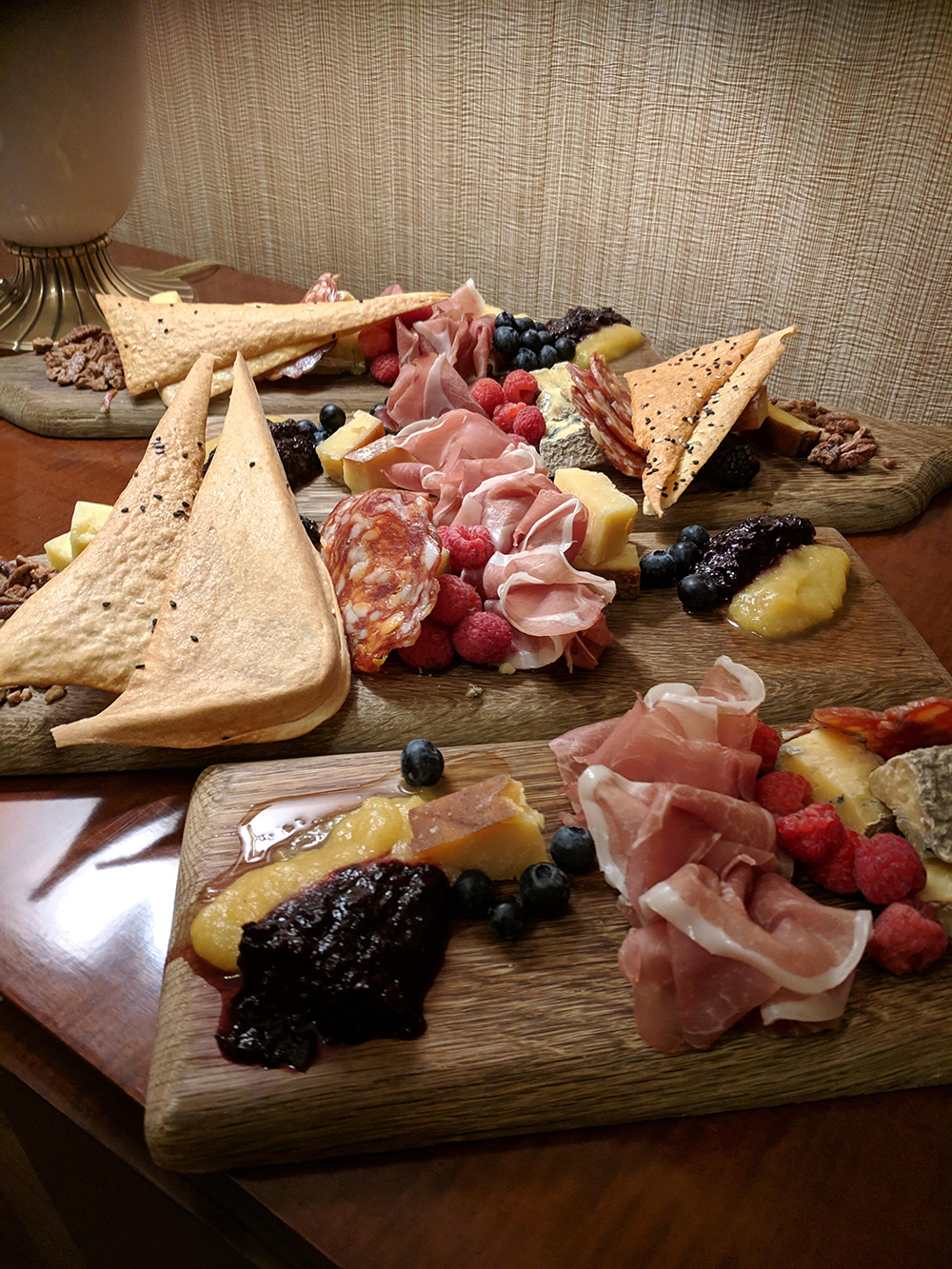 Charcuterie boards make for a lovely spa snack.