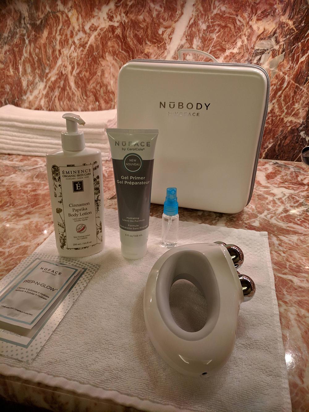 Microcurrent setup using the NuBody toning device.