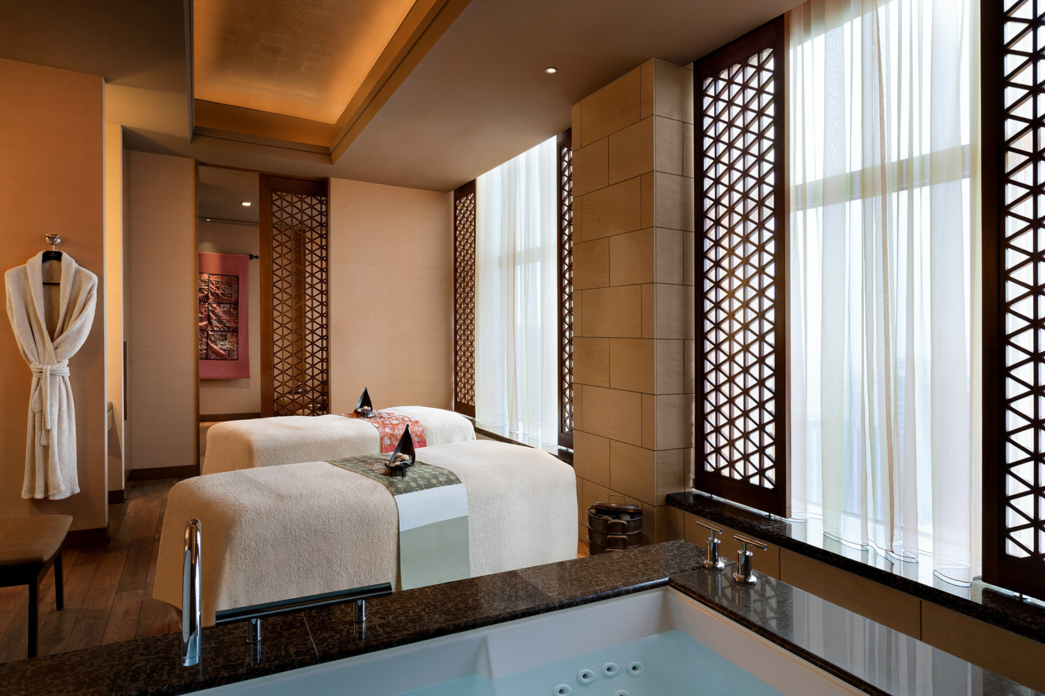 A double treatment room at the spa.