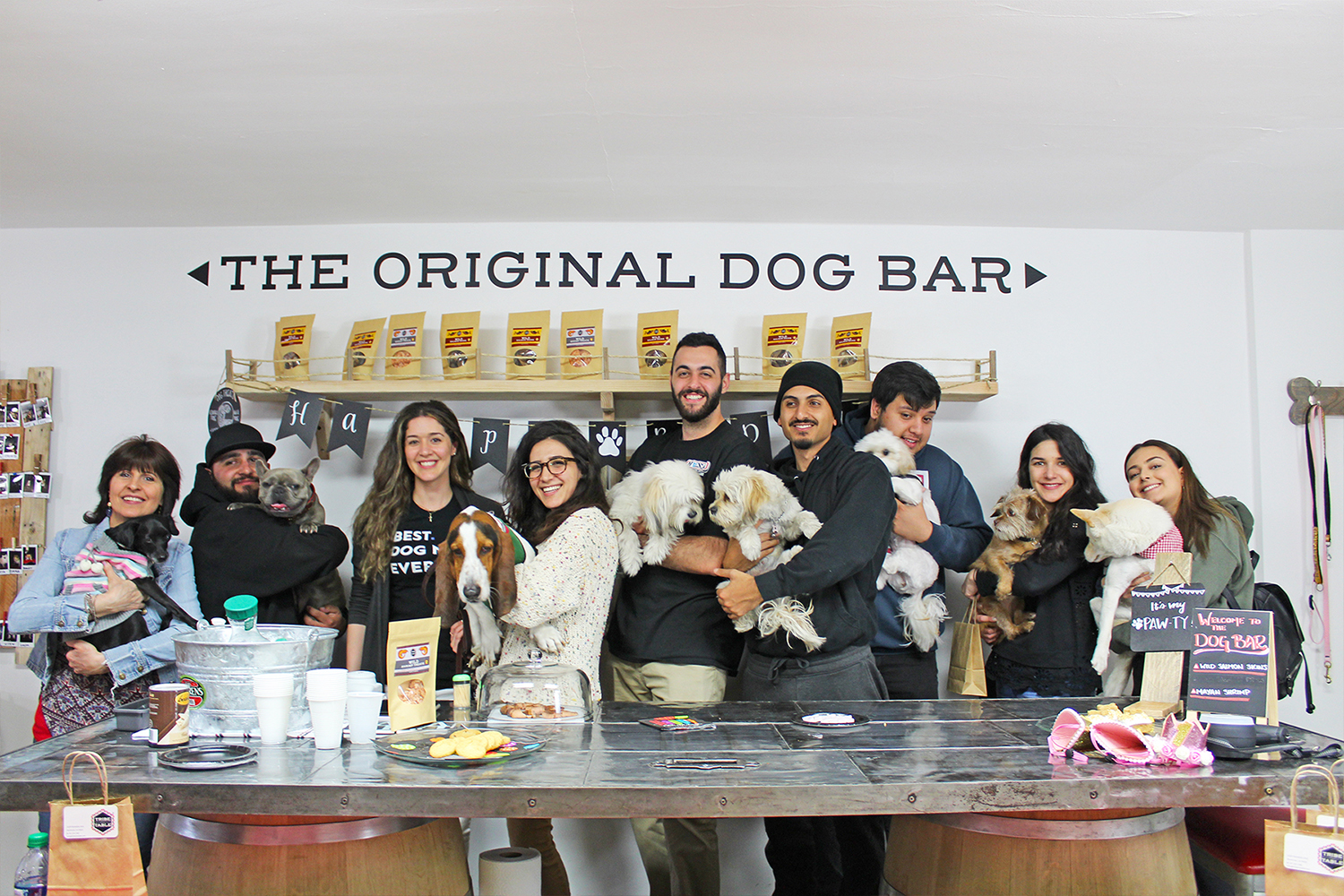Happy pets and their owners at a recent puppy party at Tribe to Table.