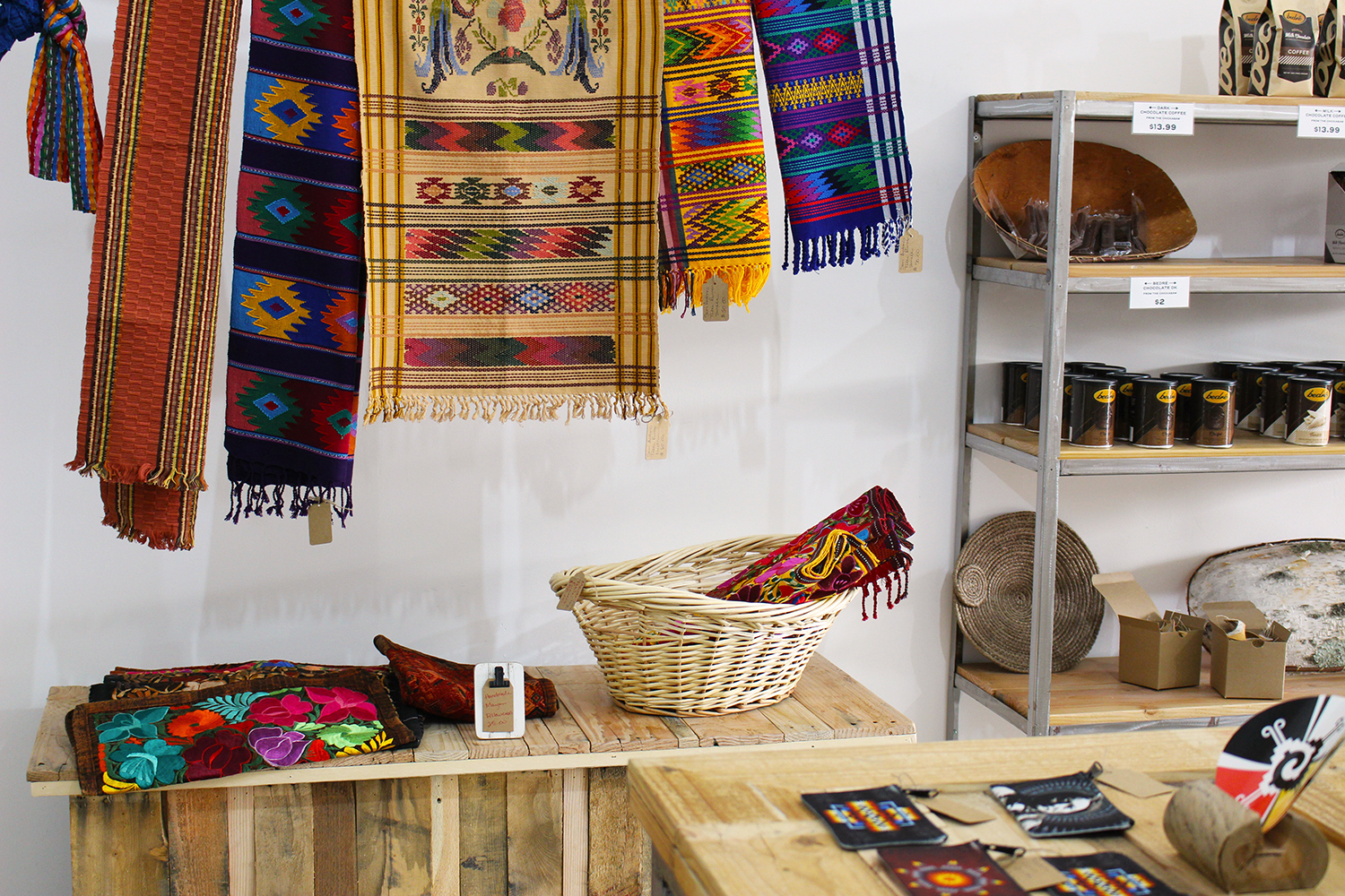 The market offers a wide variety of products, including human and dog accessories woven by the Mayans.