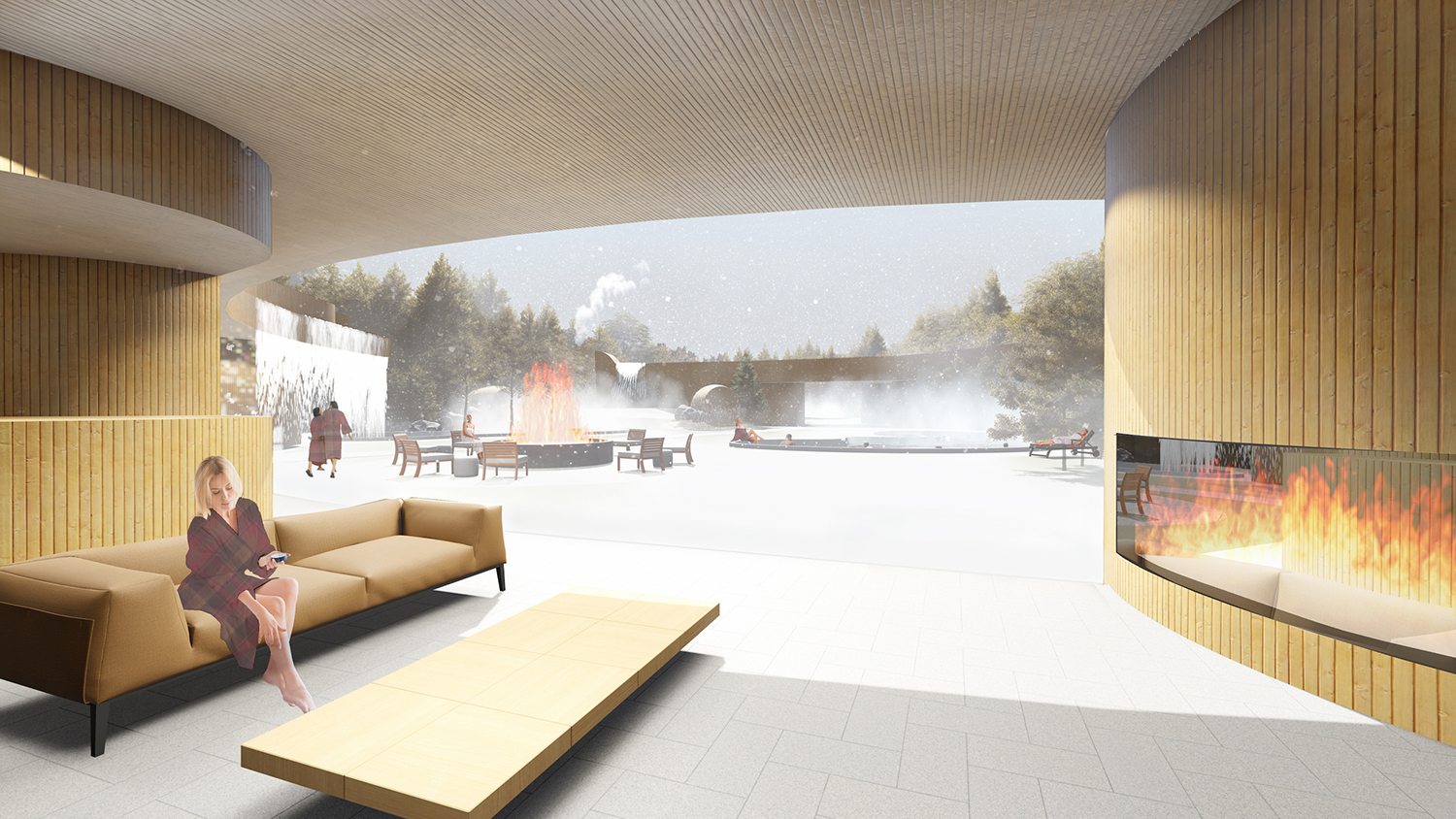 The design of Edmonton Nordic Spa took inspiration from the natural water flow and geological river formations along the North Saskatchewan River.