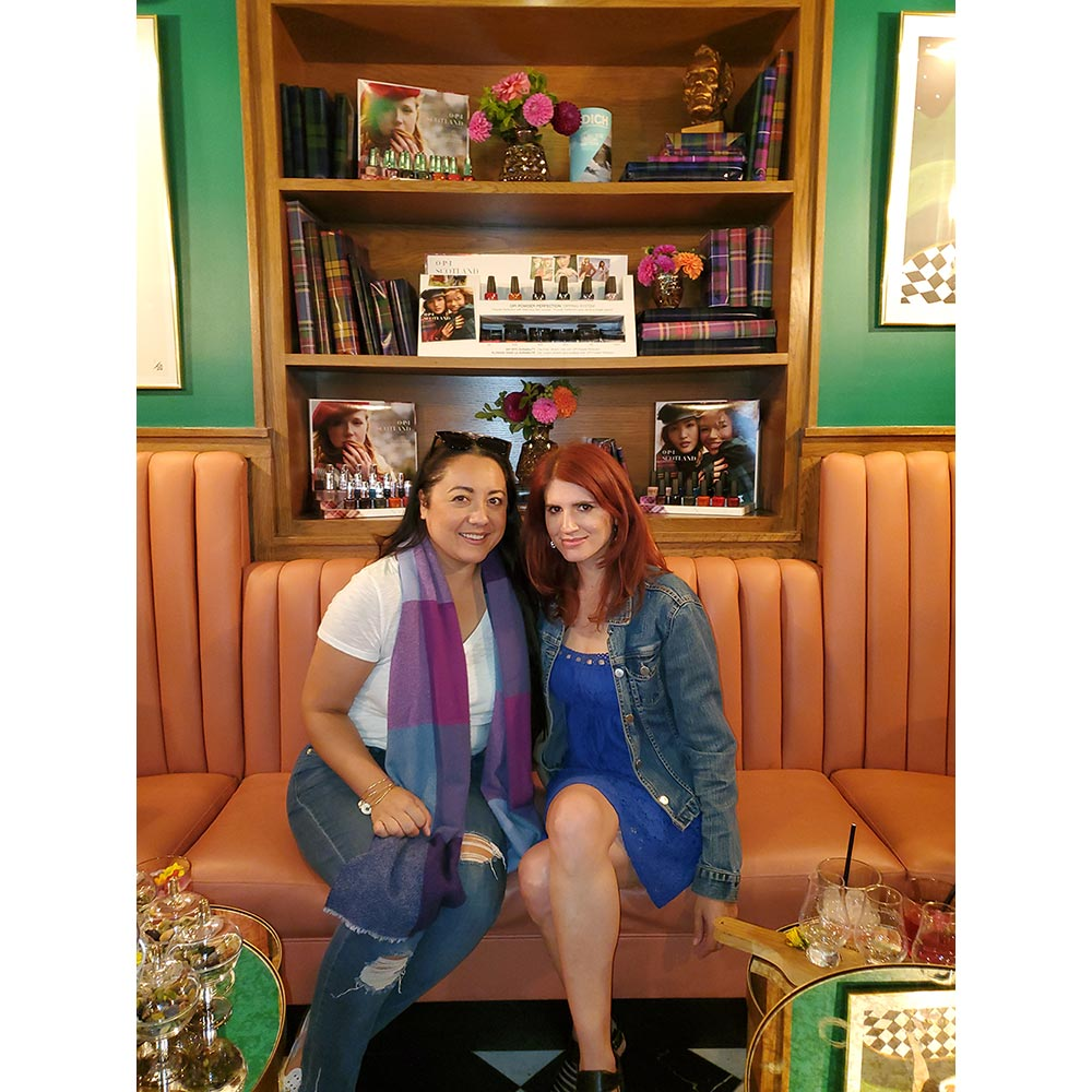Kamala Kirk and Lizzy Sherman at the OPI Scotland celebration in West Hollywood.