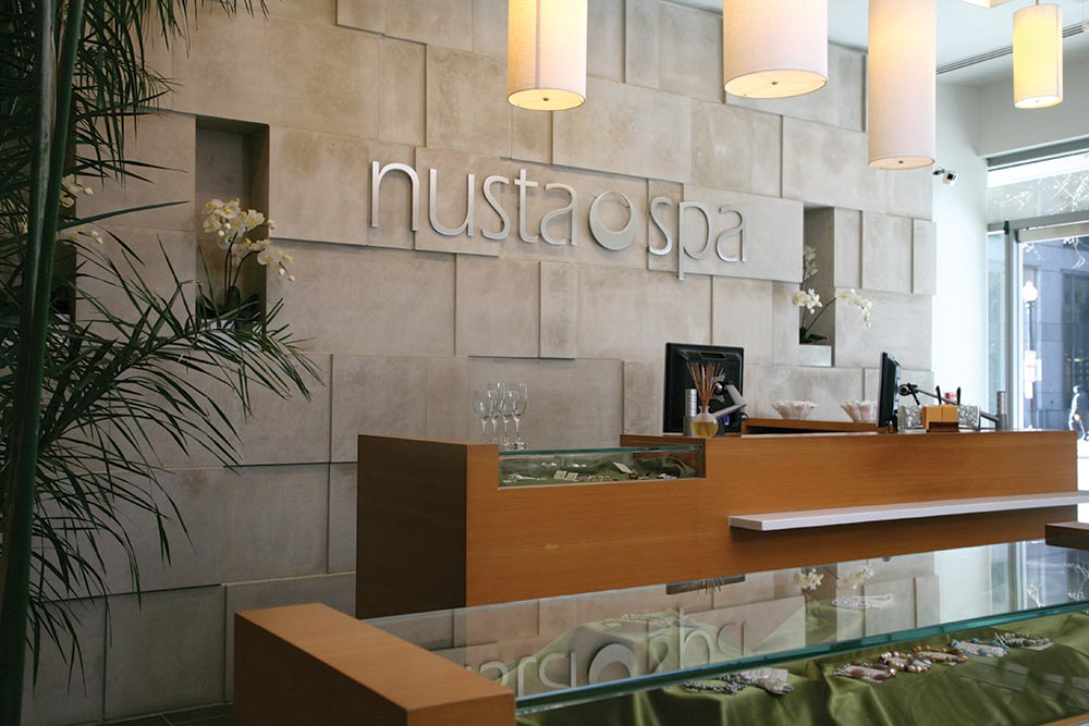 Nusta Spa's reception area.
