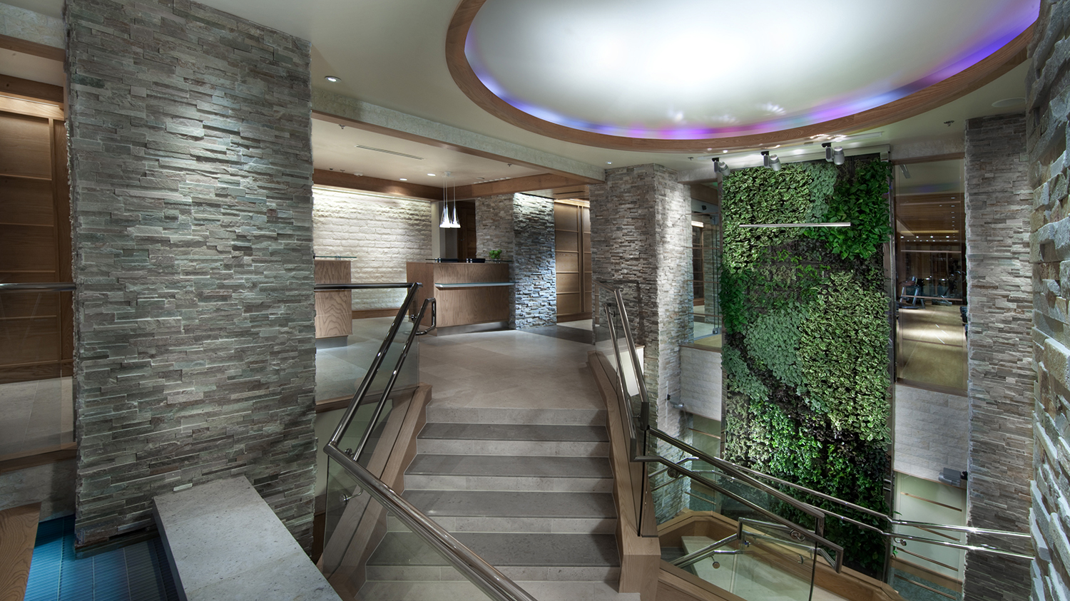 The entrance to the spa's reception area.