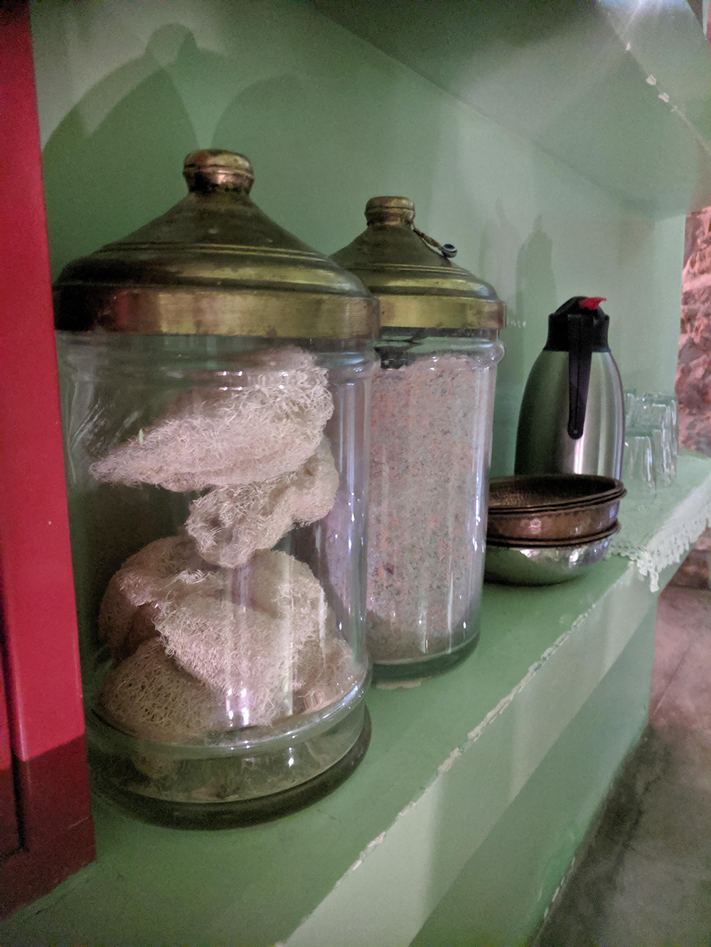 Supplies used in the Traditional Hammam service are on display in the spa.