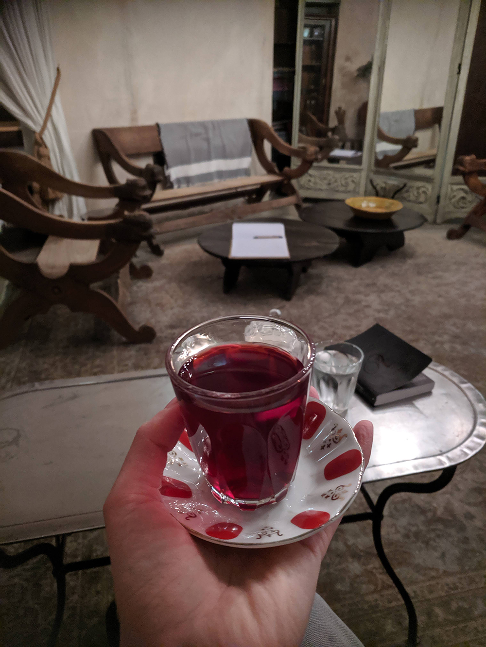 Sipping Turkish tea in the comfortable relaxation room.