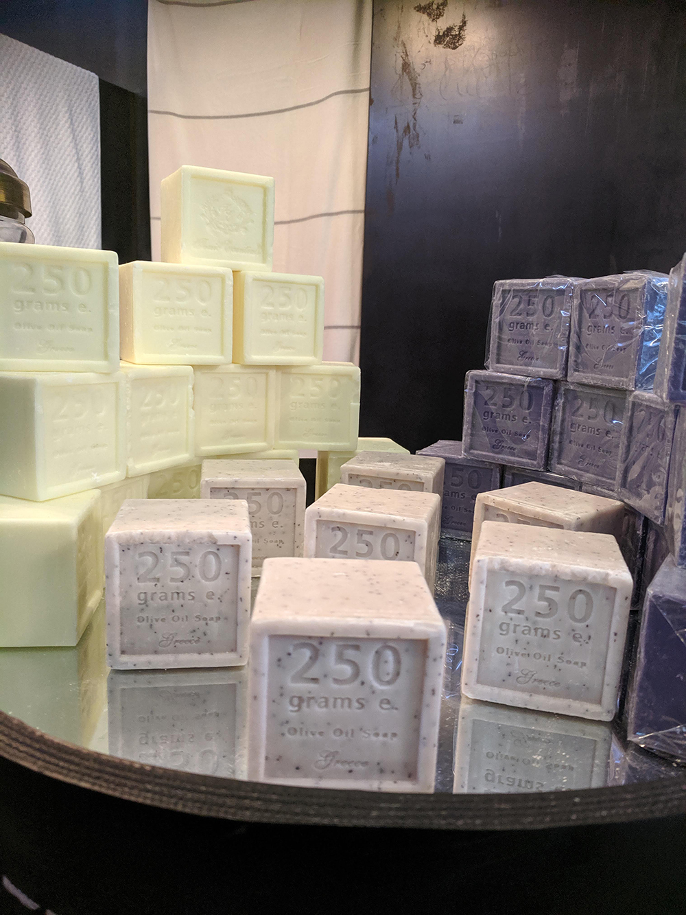 Olive oil soaps are among the items available for purchase in the spa's retail area.