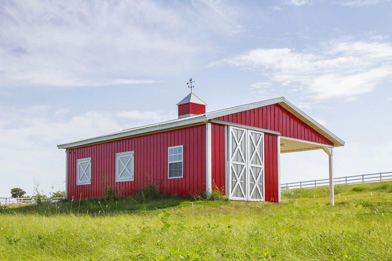 The FarmHouse Fresh Ranch is located on a sweeping hilltop in McKinney, Texas. (Pictured: The barn).