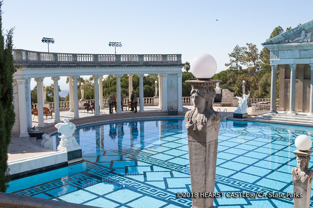 The Neptune Pool at Hearst Castle is 104 feet long, 58 feet wide, and 95 feet wide at the alcove.