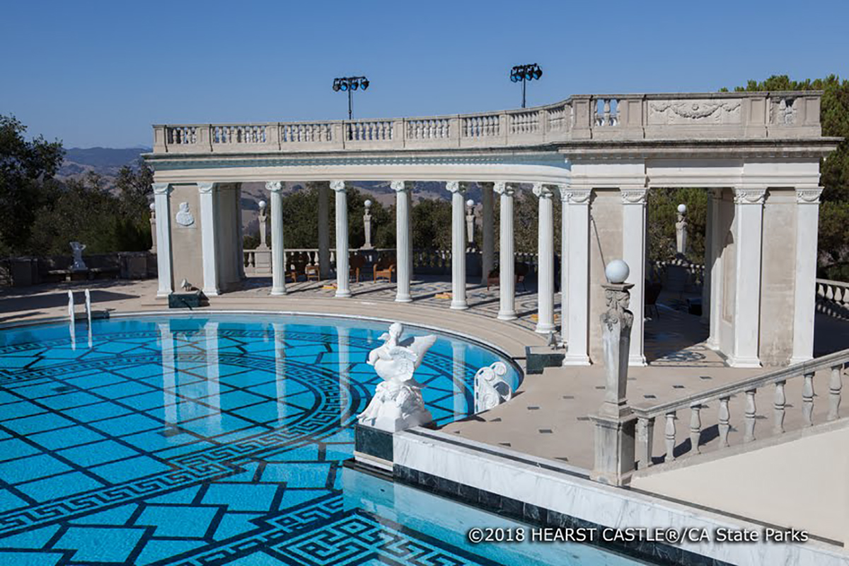 The Neptune Pool is 3.5 feet deep at the west end, 10 feet at the drains, and holds 345,000 gallons of water.