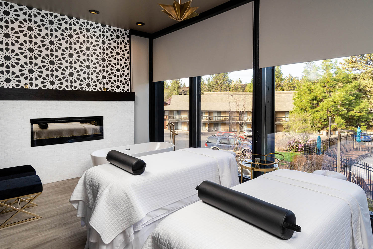 Couples' treatment room overlooking the pool.