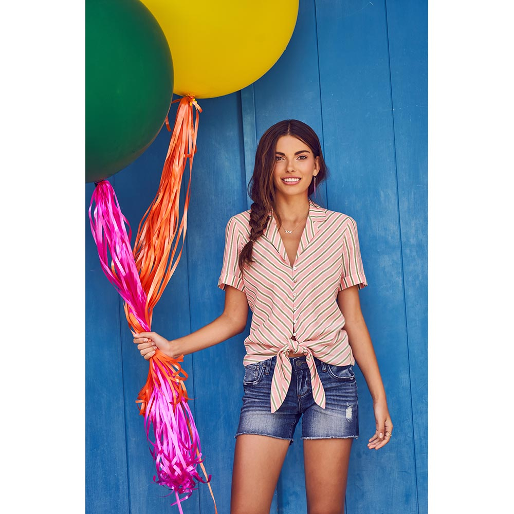 Penelope-Tie Front Blouse, $68  and  Gidget Fray Short, $69
