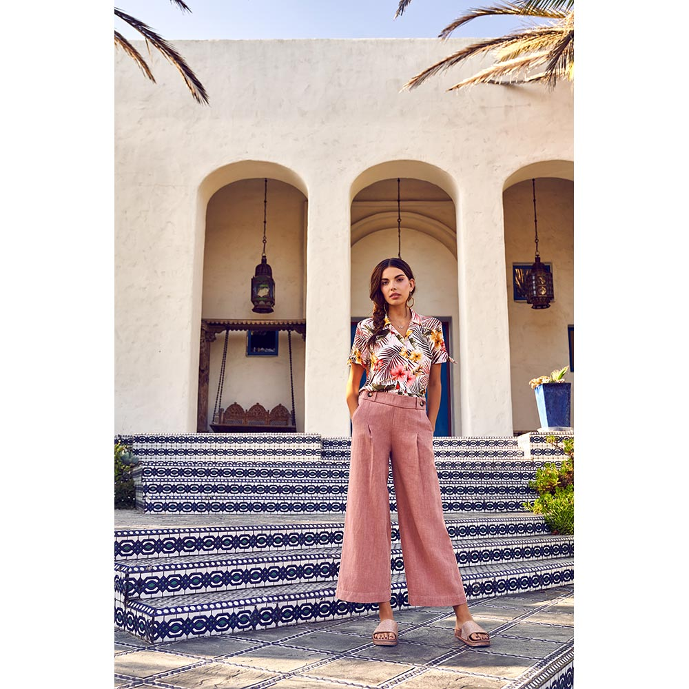 Gladys Button Down Blouse, $68  and  Raine Culotte in Rose Mauve, $78