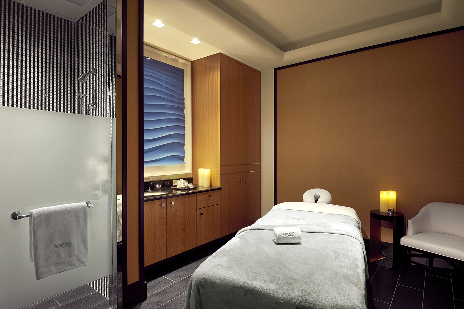 One of the luxuriously appointed treatment rooms at La Prairie Spa at Waldorf Astoria Beverly Hills.  [Image courtesy of Waldorf Astoria Beverly Hills]