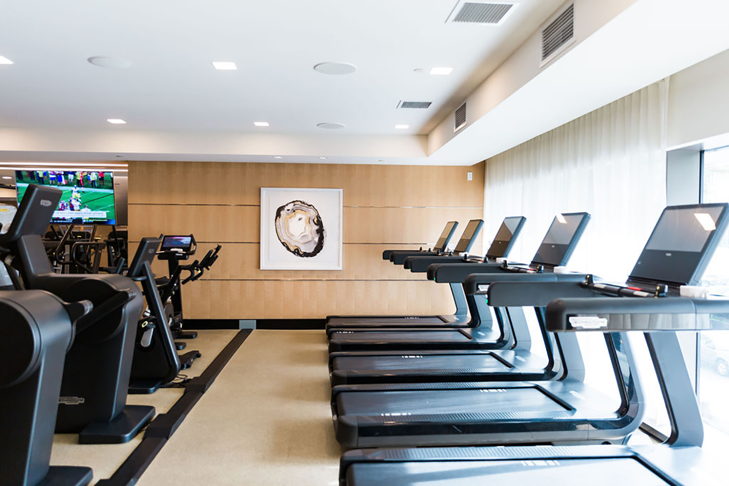 The state-of-the-art fitness center features Technogym equipment. [Photo by Vanessa Tierney]