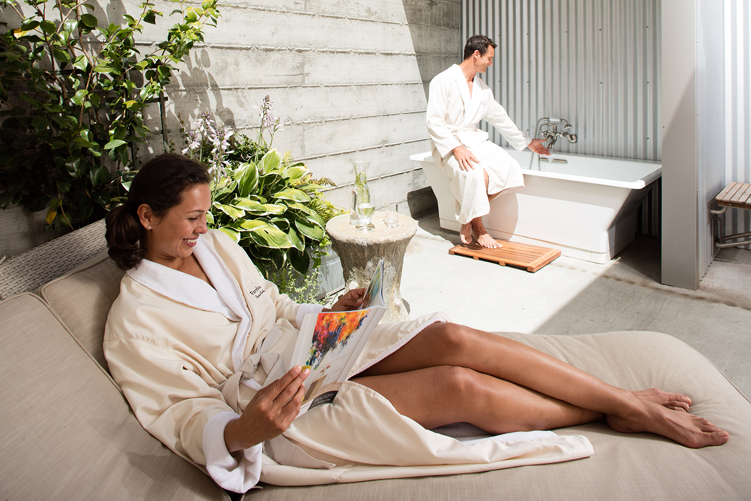 Guests can also enjoy an outdoor bath on the private couple's room patio.