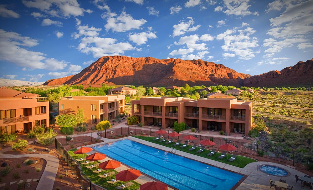 Aerial view of Red Mountain Resort in St. George, Utah.