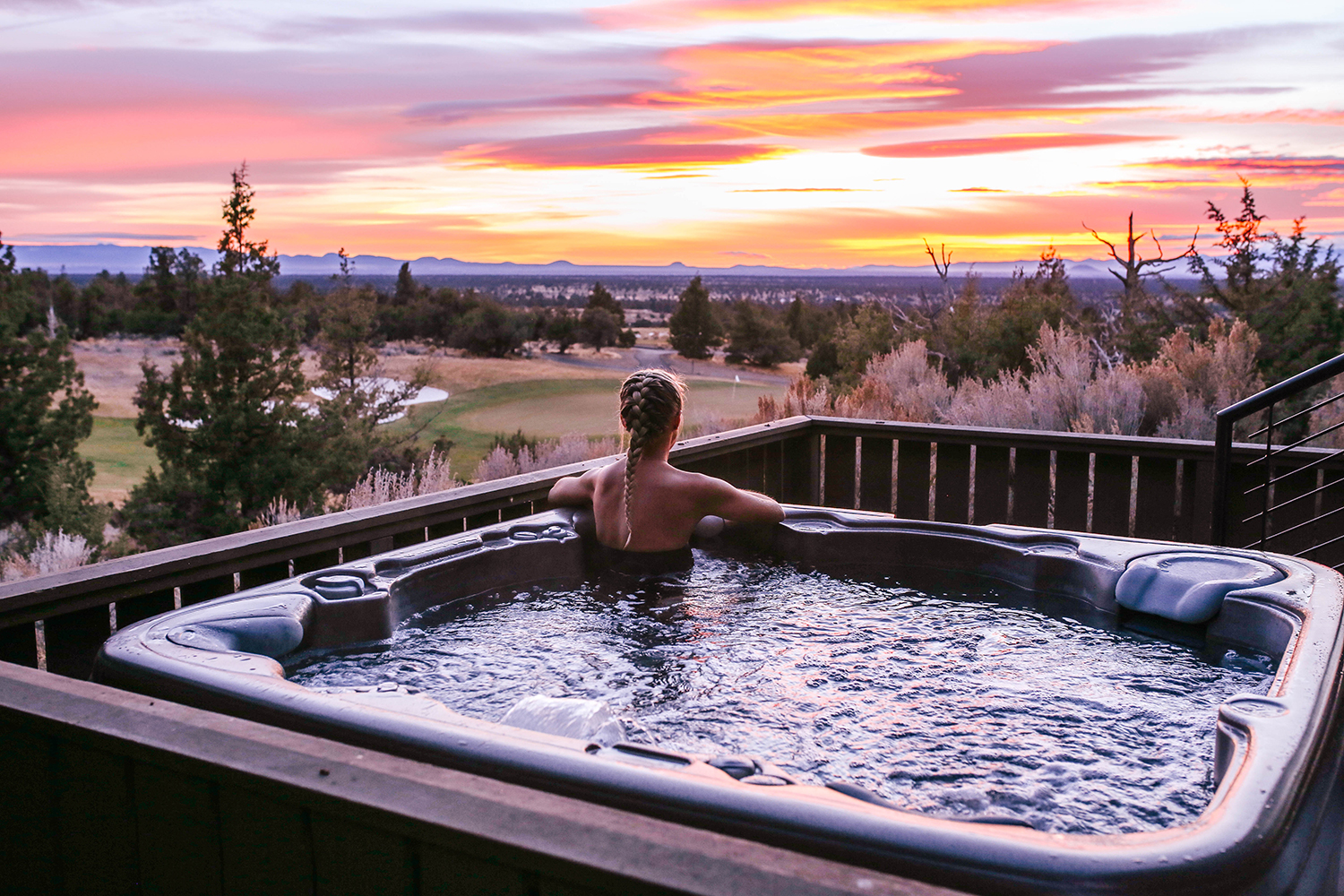 Before or after treatments, guests can relax in the adults-only hot tub.
