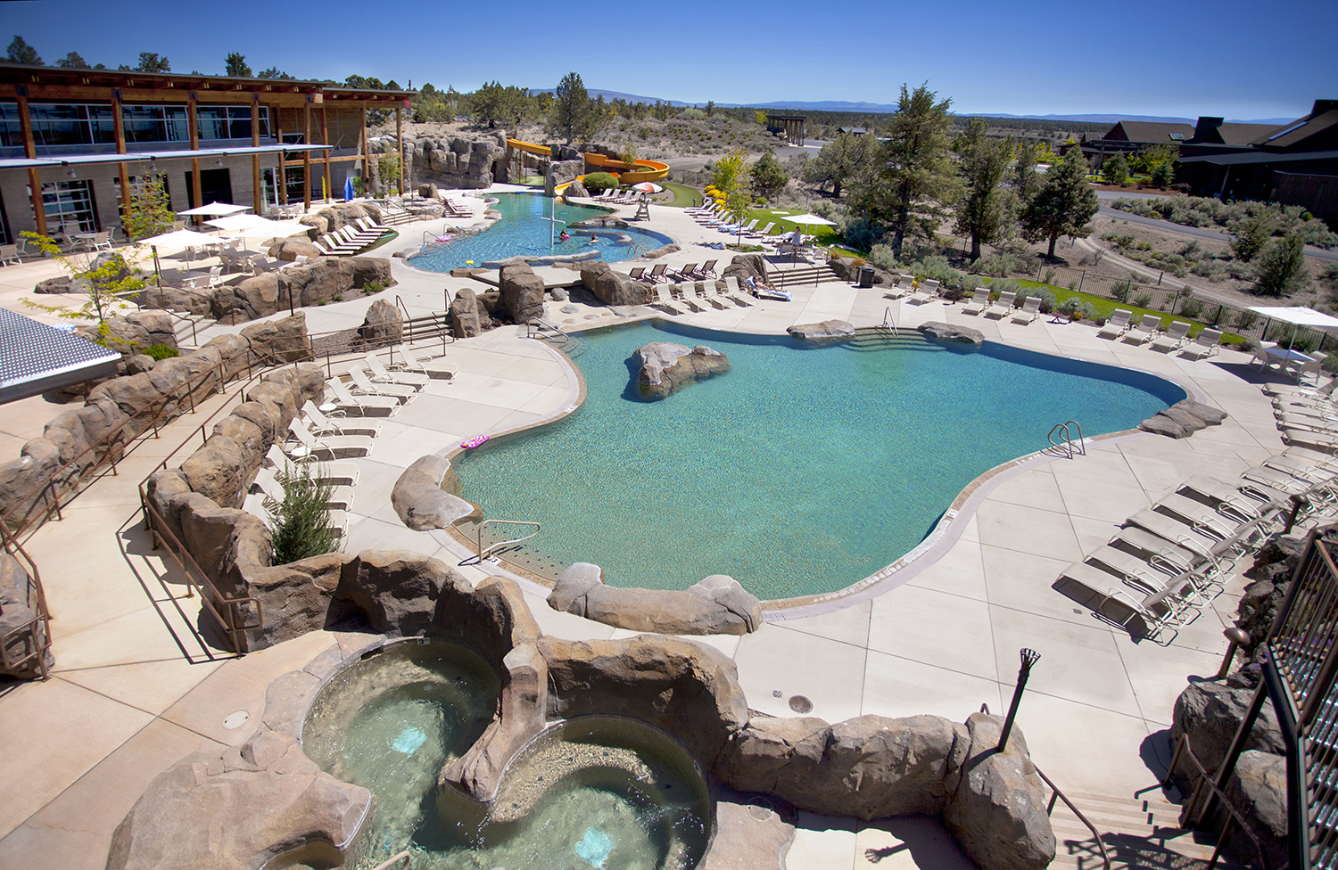 Take a dip in the heated outdoor pool, complete with a waterslide and lazy river.