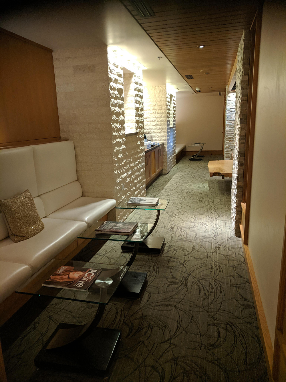 The spa's tea lounge offers tea, snacks, and comfortable seating for relaxation.