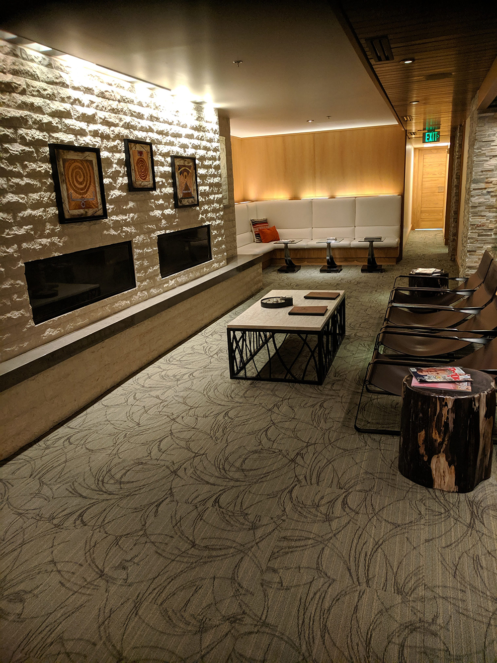 The spa's fire lounge sans fire on a warm summer day.