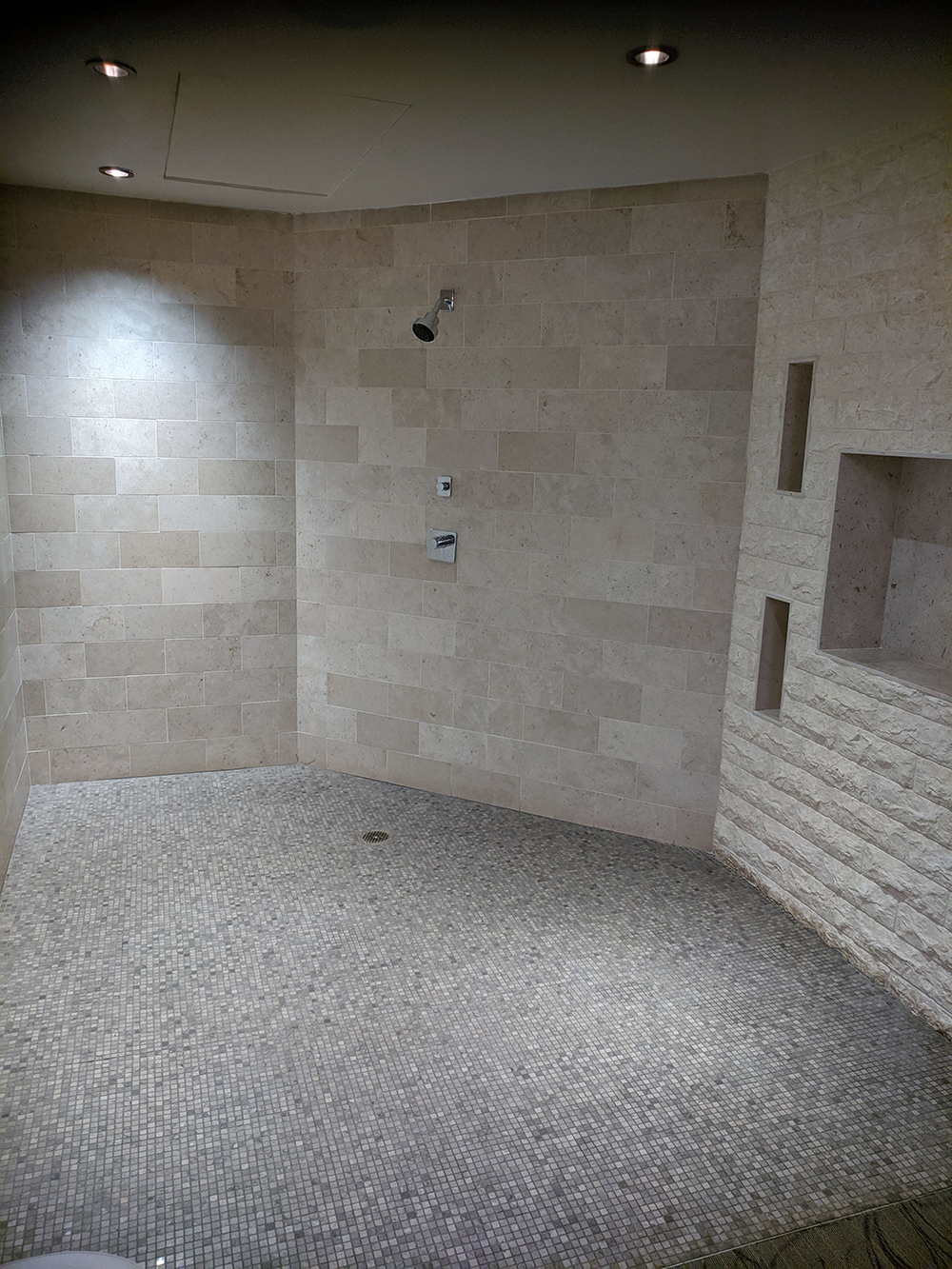 An enormous shower in one of the couples treatment rooms.