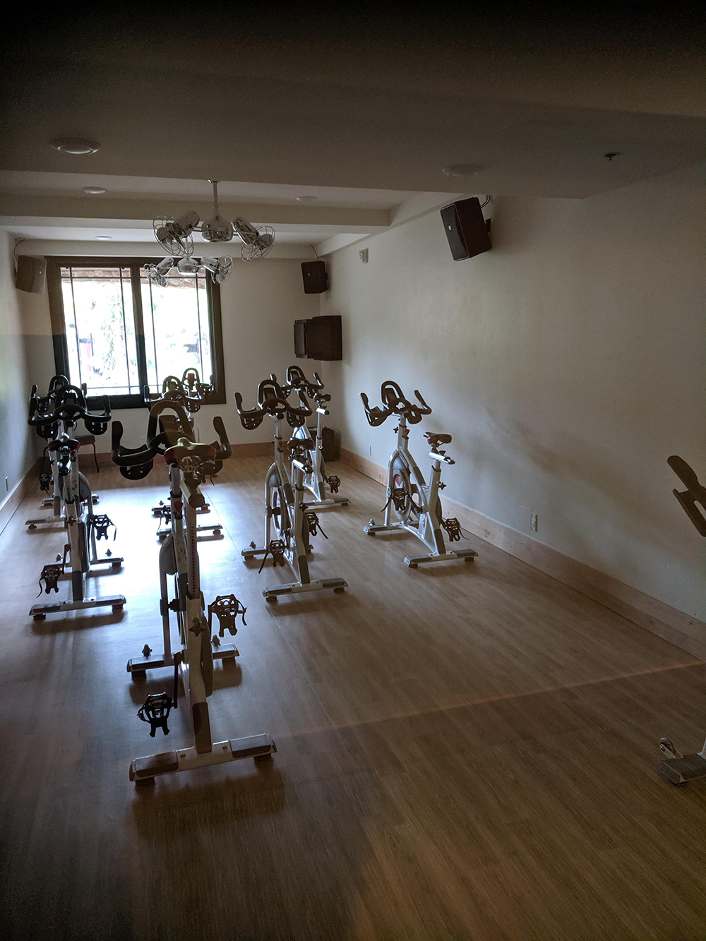 Newly remodeled, the fitness center has a large array of equipment, including a spinning room.